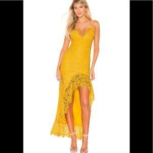 Lovers + Friends XXS Shandi Gown Mustard Yellow